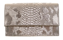 Koko Gold Snake Print Clutch Bag