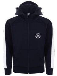 Hype Navy/White Colour Block Crest Track Zip Hoodie