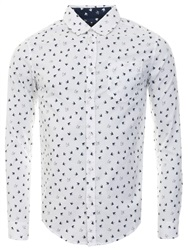 Brave Soul Optic White / Ink Printed Flutter Long Sleeve Shirt