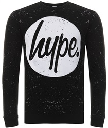 Hype Black/White Speckle Circle Crewneck Sweater