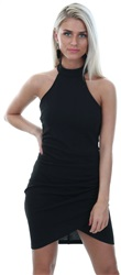 Ax Paris Black Choker Neck Ruched Detail Bodycon Dress