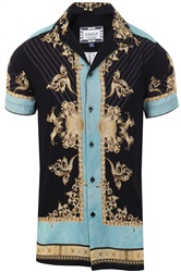 Siksilk Black/Gold S/S Resort Shirt - Lord
