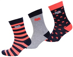 Superdry Fluro Coral/Ice/Navy Fluro Star Mix Triple Pack Socks
