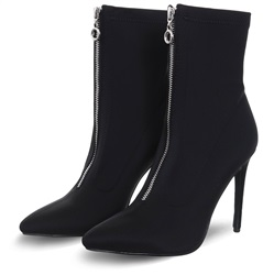 Bebo Black Lycra Moeisha Zip Up Heel Boot