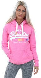 Superdry Fluro Pink Vintage Logo Pop Entry Hoody