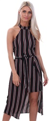 Ax Paris Black Black Striped Cut In Neck Dress