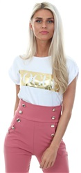 Parisian White Vogue Print Roll Up Sleeve T-Shirt