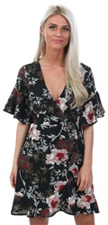 Ax Paris Black Floral Print Wrap Front Fill Dress