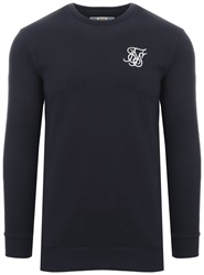 Siksilk Navy Muscle Fit Standaer Crew Sweater