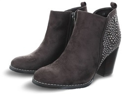 Xti Grey Suedette Block Heel Zip Up Boot