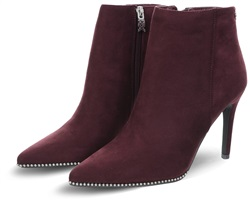 Xti Burgundy Suedette Zip Up Stilleto Boot