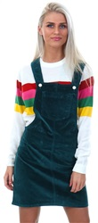 Brave Soul Bottle Green Cord Dungaree Pocket Dress