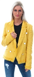 Style London Mustard Textured Button Blazer