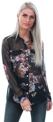 Style London Black Floral Print Sheer Shirt