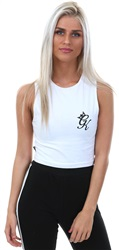Gym King White Anniston Sleeveless Crop Tee