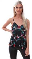Style London Black Strappy Floral Peplum Top