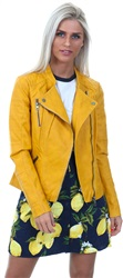 Only Golden Yellow Leather Look Ava Jacket