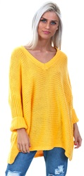 Noisy May Artisan Gold 3/4 Sleeved Knitted V-Neck Pullover