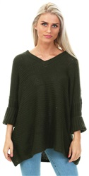 Noisy May Green 3/4 Sleeved Knitted V-Neck Pullover