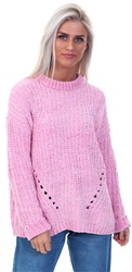 Brave Soul Bubble Gum Pink Chenille Knitted Crew Sweater