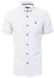Alex & Turner White Pattern Short Sleeve Button Shirt