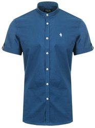 Alex & Turner Denim Blue Granda Collar Short Sleeve Shirt