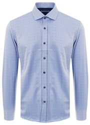 Ottomoda Blue Pattern Long Sleeve Button Shirt