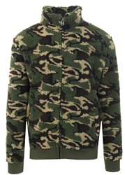 Brave Soul Camo Khaki Fleece Zip Up Jacket