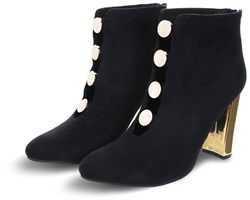 Dv8 Black Eliza Gold Button Heel Ankle Boot