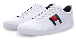 Hilfiger Denim White Flag Detail Leather Low Tops