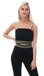 Parisian Black Gold Stripe Glitter Crop Top