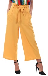 Urban Bliss Mustard Culotte Waist Tie Trousers