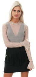 Qed Taupe Mesh Long Sleeve Frill Crop Top