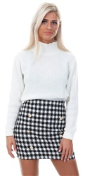 Parisian Black/White Houndstooth Check Button Detail Mini Skirt