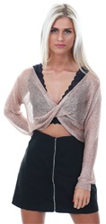 Parisian Pink Metallic Lurex Jersey Twist Long Sleeve Crop Top