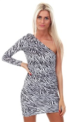 Parisian Black/White Zebra Print One Shoulder Asymmetric Bodycon Dress