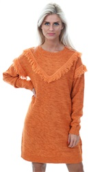 Veromoda Rust/Melange Fringe Knitted Jumper Dress