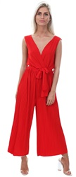 Ax Paris Red Culotte Pleated Tie-Waist Jumpsuit
