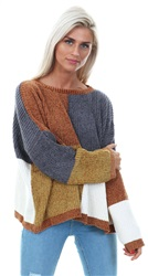Qed Rust Colour Knitted Block Crew Sweater