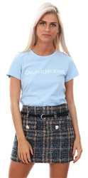 Qed Blue Check Pattern Wool Belted Mini Skirt