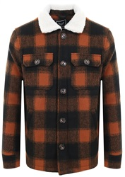 Brave Soul Black/ Orange Check Sherpa Jacket