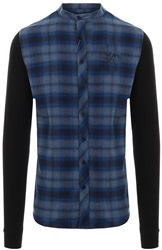 Siksilk Blue/Black Grandad Collar L/S Tartan Shirt