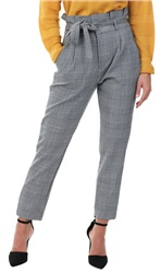 Veromoda Grey / White Check Paperbag Trousers