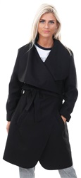 Parisian Black Waterfall Tie Waist Long Jacket