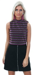 Glamorous Pink Lurex Stripe Crop High Neck Top