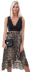 Missi Lond Leopard Print Frill Wrap Over Skirt