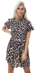 Ax Paris Multi Animal Print Frill Detail Skater Dress