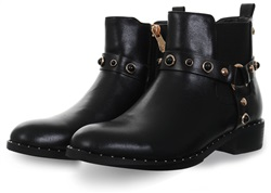 Zanni Black Antic Studded Biker Boot