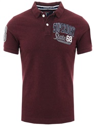 Superdry Boston Burgundy Grit Classic Superstate Polo Shirt