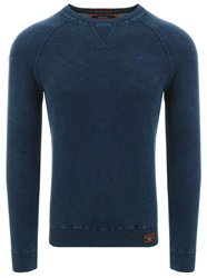 Superdry Washed Dry Storm Navy Garment Dye L.A. Crew Jumper